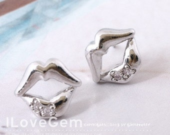 Nickel free Rhodium-plated Lip earring, 925 sterling silver post, 2pcs