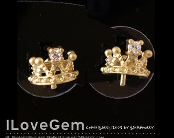 NP-825 Matt.Gold-plated, Petite Tiara earring with peg, 925 sterling silver post, 4pcs