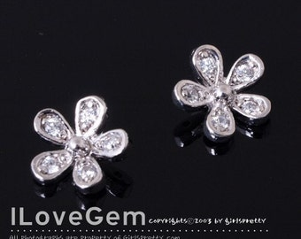 Rhodium plated over 925 sterling silver, mini Daisy flower pendant, 1pc