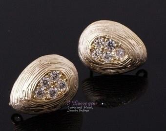 NP-458 Matt Gold plated, teardrop(CZ) earring, 925 sterling silver post, 2pcs