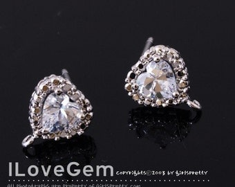 E057-1 Nickel free Rhodium-plated, Heart Cubic zirconia earring, 925 sterling silver post, 2pcs