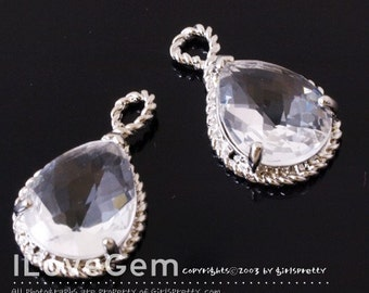 SALE / 10pcs /  B083 Rhodium-plated, Clear, Framed Glass, Pear Cut drop pendant