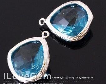 SALE/ 6pcs /  Rhodium-plated, Aquamarine, Glass fancy rosecut 15mm