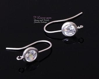 SALE/ 10pcs / NP-484 Matt Rhodium, 7mm Cubic Zirconia earring