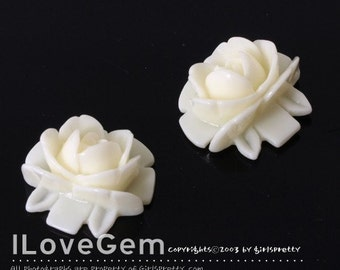 GE-3462 Resin (Cream) Flower 18mm Cabochon, 8pcs