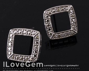NP-787 Nickel free Rhodium-plated, Open Square earring, 925 sterling silver post, 2pcs
