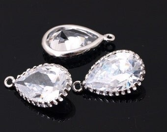 WSALE / 20 pcs / P421 Rhodium-plated, Cubic zirconia Pear Cut drop, 9.5X16mm, dangle / Cubic pendant, Wedding jewelry supplies