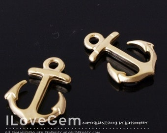 NP-815 Pewter, Matt Gold-plated, small anchor charm pendant, 4pcs