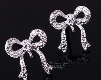 E145 Nickel free Rhodium-plated, bow earring, 925 sterling silver post, 2pcs