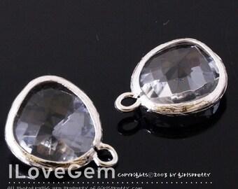 P1750 Rhodium plated, Clear, Glass fancy rosecut 12.5mm, Glass pendant, Framed glass, 2pcs
