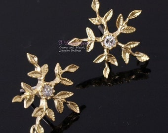 SALE/ 10pcs / P867 Matt.Gold-plated, snowflake earring, 925 sterling silver post
