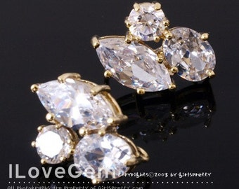 SALE/ 10pcs / NP-883 Nickel free Gold-plated, Cubic zirconia earring, 925 sterling silver post