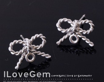 NP-712 Matt.Rhodium-plated Pewter mini bow earring, 925 sterling silver post, 4pcs