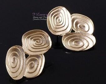 P1462 Matt Gold plated, Earring, 925 sterling silver post, 2pcs