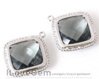 B084 Rhodium-plated, Black Diamond, Glass, Diamond pendant, 2pcs