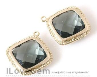 B084 Gold plated, Black Diamond, Glass, Diamond pendant, 2pcs