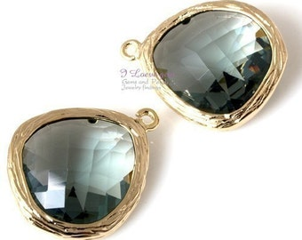 Gold plated, BlackDiamond, Glass fancy rosecut 15mm, 2pcs