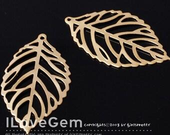 NP-904 Matt Gold-plated, Filligree Leaf Pendant. M-size, 4pcs