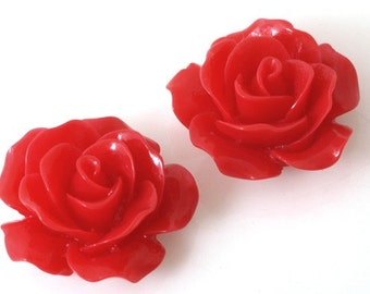 RC157-1 Resin (Red) Rose Flower, Cabochon, 8pcs