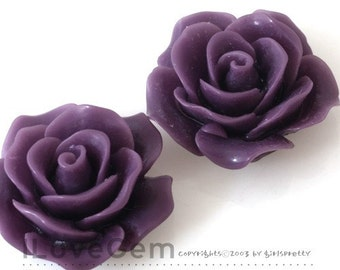 RC157-1 Resin (Purple) Rose Flower, Cabochon, 8pcs