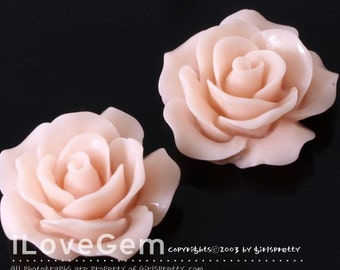 RC157-1 Resin (Lt. Pink) Rose Flower, Cabochon, 8pcs
