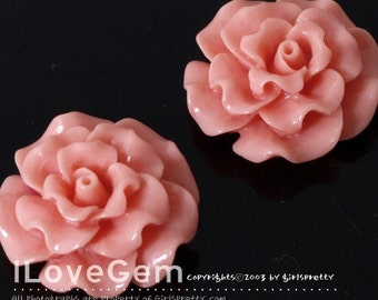 RC188-1 Resin (Coral) Flower, Cabochon, 8pcs