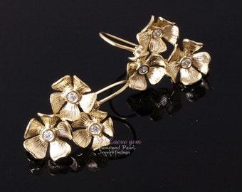 NP-480 Matt gold plated, triple flower earwire, 2pcs