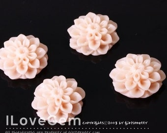 GE-3492 Resin (LT.Pink) Chrysanthemum Flower Cabochon, 8pcs
