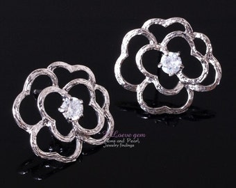 NP-518 Nickel free Rhodium-plated, RICH flower earring, 925 sterling silver post, 2pcs