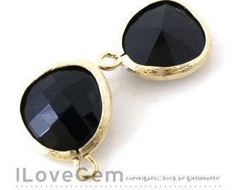 SALE 20% off // 10pcs of P1750 Gold plated, Jet, Glass fancy rosecut 12.5mm, Glass pendant, Framed glass