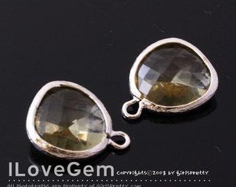 P1750 Rhodium plated, Jonquil, Glass fancy rosecut 12.5mm, Glass pendant, Framed glass, 2pcs