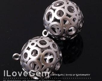 SALE/ 10pcs / NP-932 Matt Rhodium plated, 16.5mm Ball Dangle