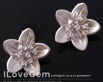 NP-626 Matt Rhodium-plated, Flower earring, 925 sterling silver post, 2pcs