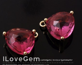 NP-993 Gold Plated, Trilliant Cut, Ruby, Glass pendant, 2pcs