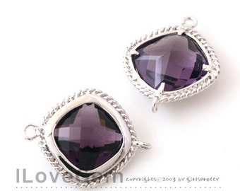 B097 Rhodium plated, Amethyst, Glass, Square connector, 2pcs