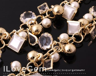 Chain, Gold plated over Brass, with Acrylic Beads dangle, Sold per pkg of 20cm