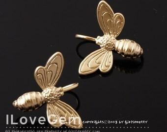 2pcs, NP-1015, Matt Gold plated, Honeybee Earrings, Ear wires, Ear wires, Ear hooks