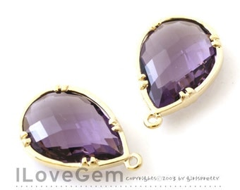 SALE / 10pcs / B057 Gold plated, Amethyst, Glass drop