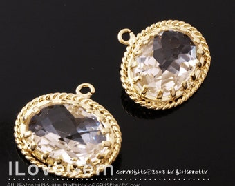 B089 Gold plated, Clear, Glass, Oval pendant, 2pcs