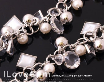 Chain, Rhodium plated over Brass, with Acrylic Beads dangle, Sold per pkg of 20cm