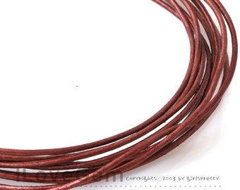 Leather Cord, Round, 1mm, Metalic burgundy, 4Meters