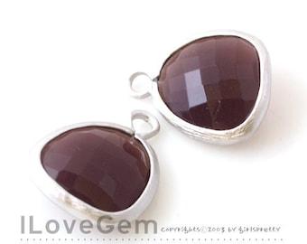 SALE 20% off // 10pcs of P1750 Matt Rhodium plated, Burgundy, Glass fancy rosecut 12.5mm, Glass pendant, Framed glass