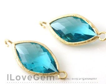 P2788 Gold plated, Neon Blue, Glass, Marquise connector, 2pcs