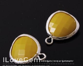 SALE 20% off // 10pcs of P1750 Rhodium plated, Mustard, Glass fancy rosecut 12.5mm, Glass pendant, Framed glass