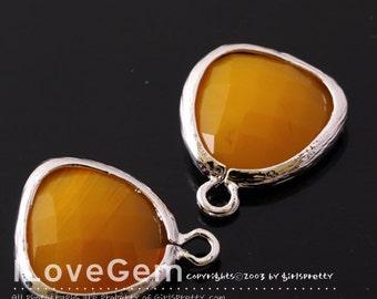 P1750 Rhodium plated, Orange Mustard, Glass fancy rosecut 12.5mm, Glass pendant, Framed glass, 2pcs