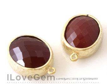 SALE / 10pcs /  B2721  Matt Gold plated, Maroon, Oval pendant, Glass pendant, Framed glass, Faceted glass charm