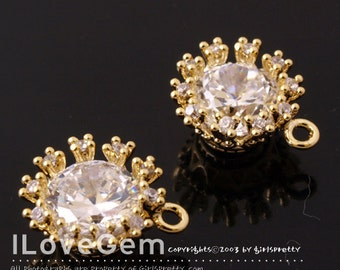NP-1128 Gold plated over Brass, 6mm, CZ Dangle, 2pcs