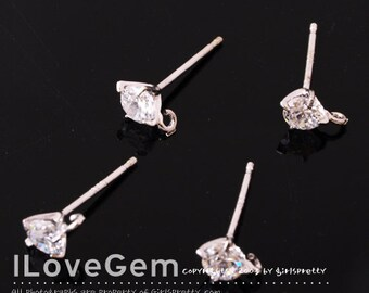 NP-1146 Nickel Free Rhodium plated, 4mm, Cubic zirconia, 925 sterling silver post, 4pcs