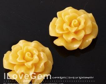 RC188-1 Resin (Orange) Flower, Cabochon, 8pcs