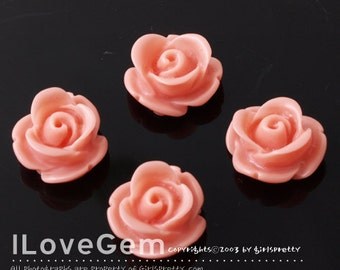 RC059 Resin (Coral) Rose Flower 13mm Cabochon, 8pcs